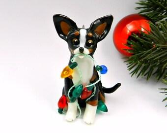 Chihuahua TriColor Christmas Ornament Figurine Lights Porcelain