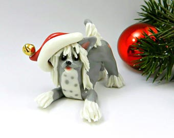 Chinese Crested Christmas Ornament Figurine Santa Hat Porcelain