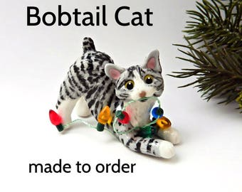 Bobtail Cat PORCELAIN Christmas Ornament Figurine Made to Order