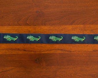 3 yards Smiling Gators  -  Vintage Fabric Trim Ribbon Embroidered Mod Juvenile 80s New Old Stock