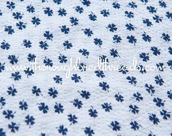 Blue Shamrocks- Vintage Fabric New Old Stock Seersucker Plisse Adorable Doll Making 38 in wide