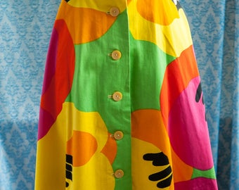 Bold Colorful Floral - 60s 70s Mod Flowers Island
