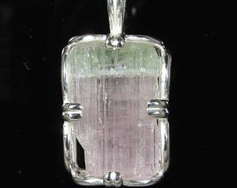 17.53 carat Watermelon Tourmaline / Uncut Crystal / Framed in Sterling / Sterling Chain / NOW on SALE / Fast Free Shipping, Gift Box & Wrap