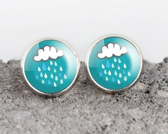 Rain Cloud Illustrated Earrings | ATL-E-RAI
