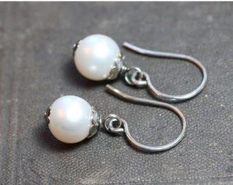 SALE Pearl Earrings Cultured White Pearl Earrings Sterling Silver Earrings Real Pearl