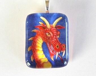 Red Gold Dragon Fantasy Art Glass Pendant Dragon Jewelry Colored Pencil Art