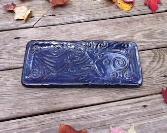 Dragonfly Platter, Ceramic Dragonfly Platter, Blue Ceramic Platter, Blue Dragonfly Platter