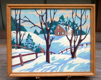 Vintage Framed Paint by Number Painting Snow Landscape