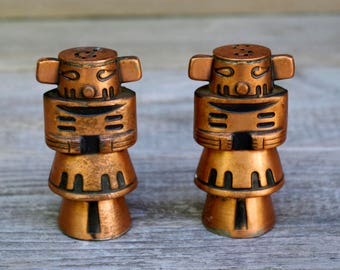 Vintage Totem Copper  Salt and Pepper Shakers Tikki