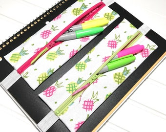 Pineapple pouch, Happy planner band, Zipper bag, planner organizer, binder bag, Pineapple gift, teacher gift, Pineapple zipper pouch, pouch