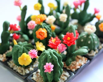 Miniature Polymer Clay Flowers Handmade Supplies Cactus, set of 12 pcs.
