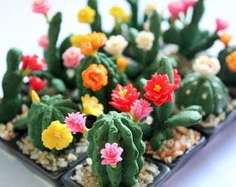 Miniature Polymer Clay Flowers Handmade Supplies Cactus, set of 12 pcs.
