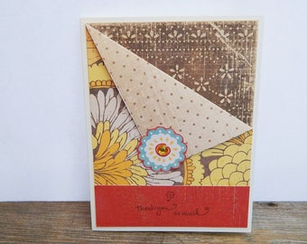 Flower Thank You Card, Blank Thank You Card, Paper Handmade Greeting Card, Thank You Note Card