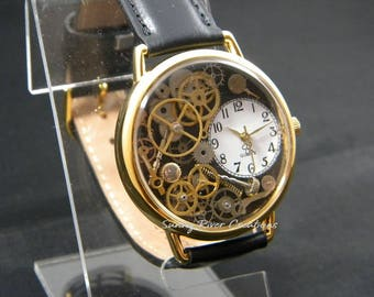 Steampunk Watch with watch gears hands and stems