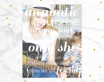 Gift for Aunt, Personalized Gift for Aunt, An Aunt is Like Sunshine... // A special art print featuring your photo // H-Q21-1PS ZZ1
