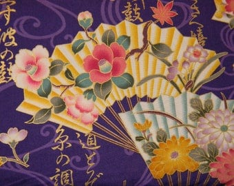 Asian Fan on Purple Cotton Fabric by Quilt Gate