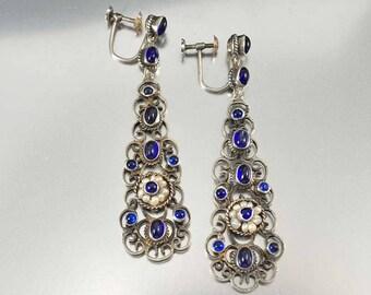 Austro Hungarian Victorian Earrings   Sapphire Earrings   Silver Filigree Pearl Earrings   Long Chandelier Earrings   Antique Earrings