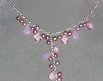 Pink Pearl Y Necklace