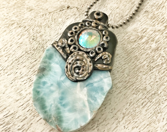 Featured listing image: Love Within Illumination Necklace / Larimar / Polymer Clay