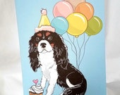 Black Cavalier King Charles Spaniel 'n Balloons Greeting Card