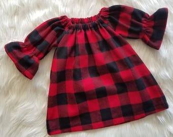 Girls Christmas Dress, Buffalo Plaid Flannel Dress, Holiday Outfit, Christmas Photos, Girls Holiday Outfit, Buffalo Check, Santa Visit