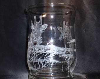 Giraffe decore, Giraffe Etching, Giraffe Carving,  Safari Art, Giraffe Art, African Art, Hand Carved Glass, Glass Wedding Gift Giraffe Gift