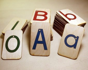 """Sandpaper Letters, Uppercase, Lowercase and Numbers 0-10 mounted on 3""""x5""""Birch With storage boxes - Montessori"""