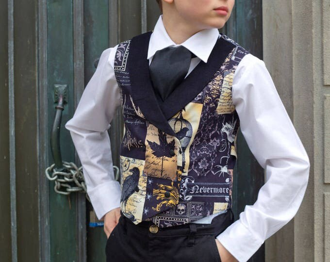 Boys Holiday Clothes - Boys Formal Wear - Toddler Boys Clothes - Edgar Allen Poe - Double Breasted Vest - Gothic Clothing - 2T to 10