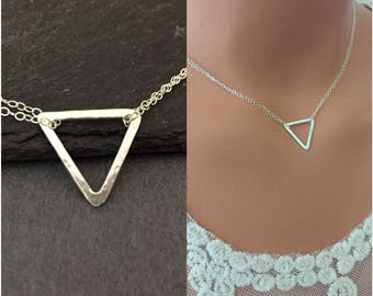 Minimalist Sterling Silver Triangle Necklace - Simple Necklace,Casual Necklace, Contemporary Necklace, Silver Necklace, bridal, Bridesmaids
