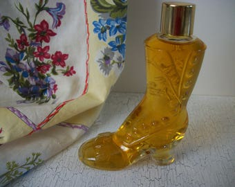 Vintage Victorian Boot Perfume Bottle  Miniature Bottles Collectible Vintage 1975 Avon Ladies Boot Shaped Bottle with Cologne Full Bottle