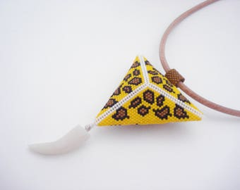 Triangle pendant necklace 3D Pattern Panther croc