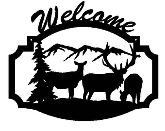 Elk with Calves Welcome Sign (B34)
