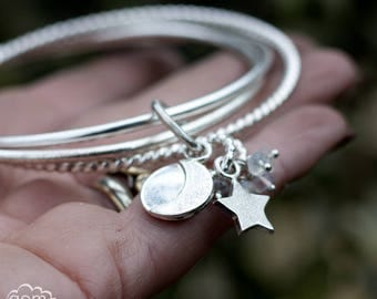 Sterling silver Russians style Interlocked bangles with Moons and Moonstone - Wrapped Around -