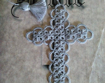 Cross Bookmark Tatted Silver Gray Lace Tatting