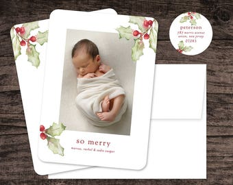 Simple Holly Modern Clean Watercolor Photo Holiday Card / Christmas Card