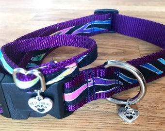 Best Friend Bracelet and Pet Collar Set in Metallic Rainbow Zebra print on Purple Webbing.