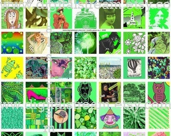 Mostly Green Inchies Digital Collage Sheet 1x1 Inch Squares 63 Different  Images Scrapbooking