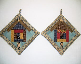 Bird House Quilted Potholders, Insulated Pot Holders, Set of 2 Hot Pads, Trivets, For the Cook, For the Kitchen, Made in America