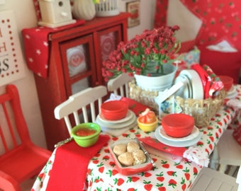 Miniature Strawberry Table Setting -Table, 4 Chairs and Food-1:12 scale dollhouse miniature