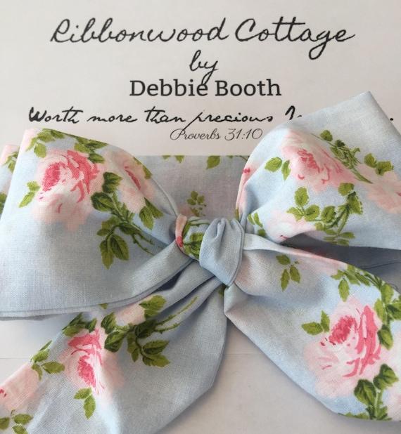 Shabby Roses Floral Baby Head Wrap Headband