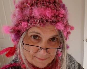 Beanie, Bonnet hat,  Hand Spun Hand Knit pink beanie, wool knit hat