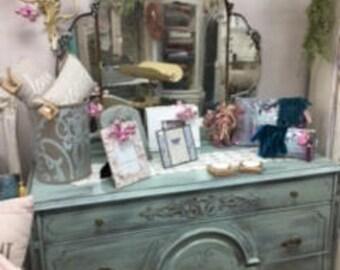 Depression Dresser with Mirror is Soft Seafoam Green
