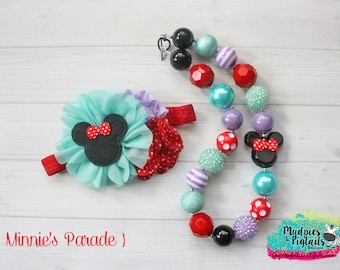 chunky necklace or baby headband { Minnie's Parade } red, lavender, aqua polka dot, mermaid headband, first 1st Birthday, photography prop