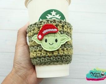 Christmas Coffee Cozy { Yoda Santa Hat } holiday Star Wars, glitter stripe cup holder, crochet mug sleeve, mug sweater, planner girl