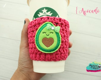 Food Cup Cozy { Avocado } fresh, chef pink, green, kawaii summer coffee sleeve, food, birthday, stocking stuffer, mug starbucks, crochet