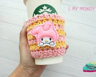 Crochet Coffee Cozy { My Melody } pink, yellow, knit mug sweater, coffee gift, mug sleeve, bunny lover, birthday gift, drink holder
