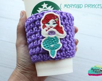 Coffee Cozy { Mermaid Princess } Tsum Tsum Inspired striped, under the sea coffee cup cozie sleeve, mug starbucks water bottle