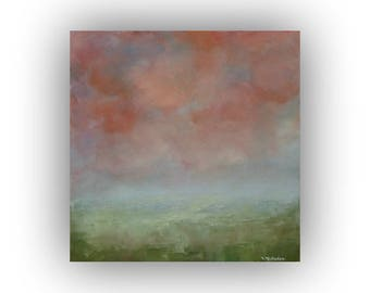 Small Abstract Landscape Painting- 12 x 12 Pink Green and Blue Sky and Clouds Oil Painting- Original Palette Knife Art on Canvas