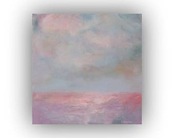 Pink and Blue Abstract Landscape Painting- Small 12 x 12 Field Sky and Clouds Oil Painting- Original Palette Knife Art on Canvas