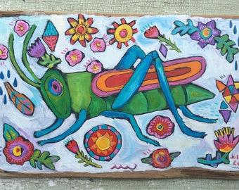 Folk Art Painting Grasshopper on Rustic Wood